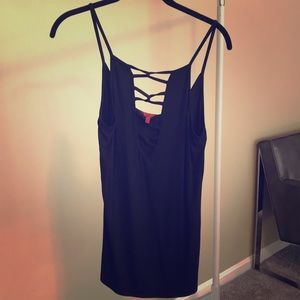 Sexy black tank with cut outs from buckle